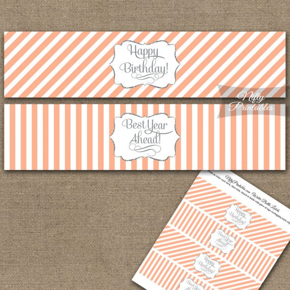 Happy Birthday Water Bottle Labels - Peach Silver Stripe