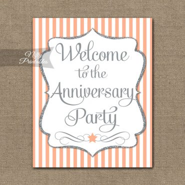Anniversary Welcome Sign - Peach Silver Stripe
