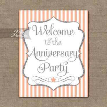 Anniversary Welcome Sign - Peach Silver Stripe