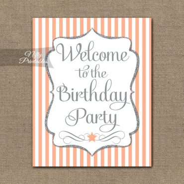 Happy Birthday Welcome Sign - Peach Silver Stripe
