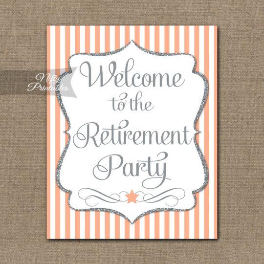 Retirement Welcome Sign - Peach Silver Stripe