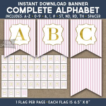 Alphabet Party Banner - Pink Gold Stripe