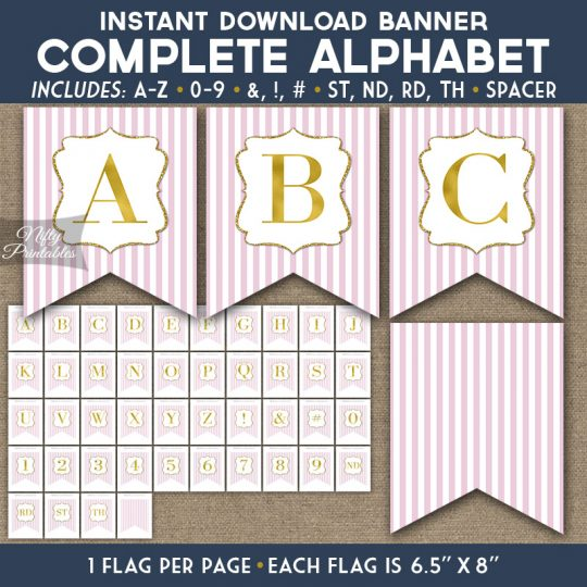 Alphabet Party Banner - Pink Gold Stripe