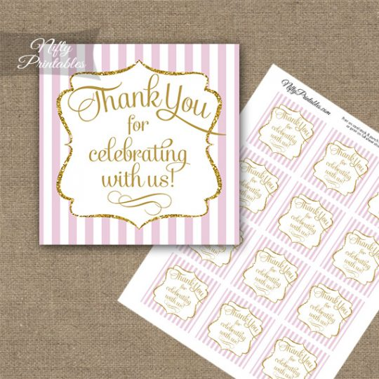 Pink White Gold Stripe Thank You Favor Tags