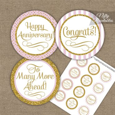 Anniversary Cupcake Toppers - Pink Gold Stripe