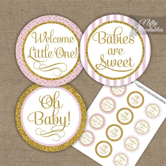 Baby Shower Cupcake Toppers - Pink Gold Stripe