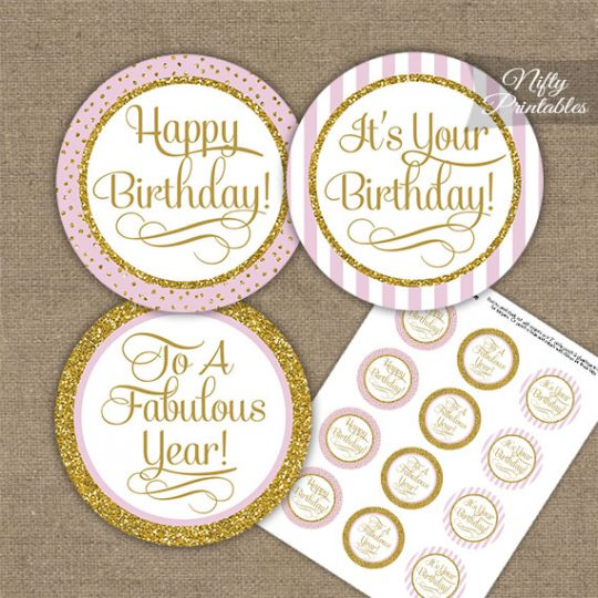 Happy Birthday Cupcake Toppers - Pink Gold Stripe