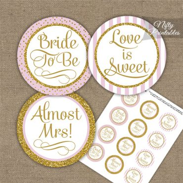 Bridal Shower Cupcake Toppers - Pink Gold Stripe
