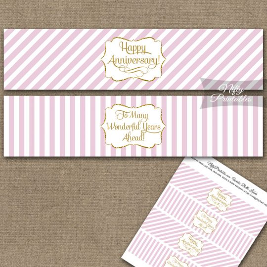 Anniversary Water Bottle Labels - Pink Gold Stripe