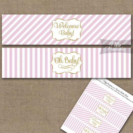 Baby Shower Water Bottle Labels - Pink Gold Stripe