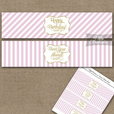 Happy Birthday Water Bottle Labels - Pink Gold Stripe