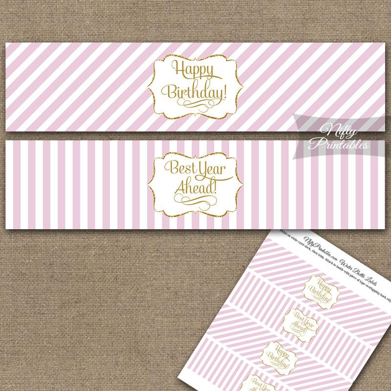 Happy Birthday Water Bottle Labels - Pink Gold Stripe