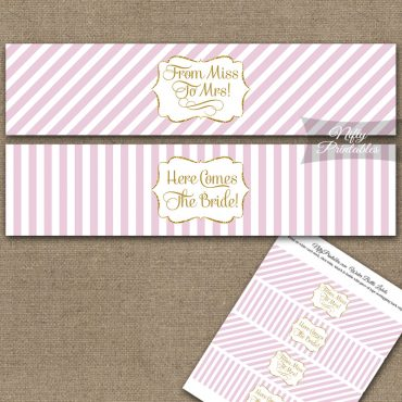 Bridal Shower Water Bottle Labels - Pink Gold Stripe