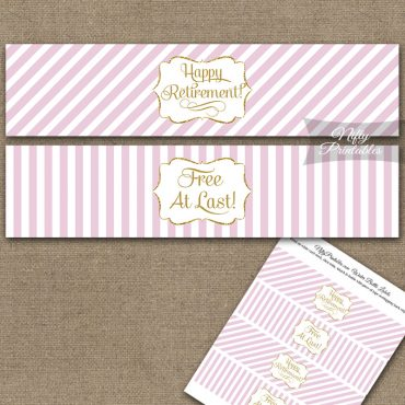 Retirement Water Bottle Labels - Pink Gold Stripe