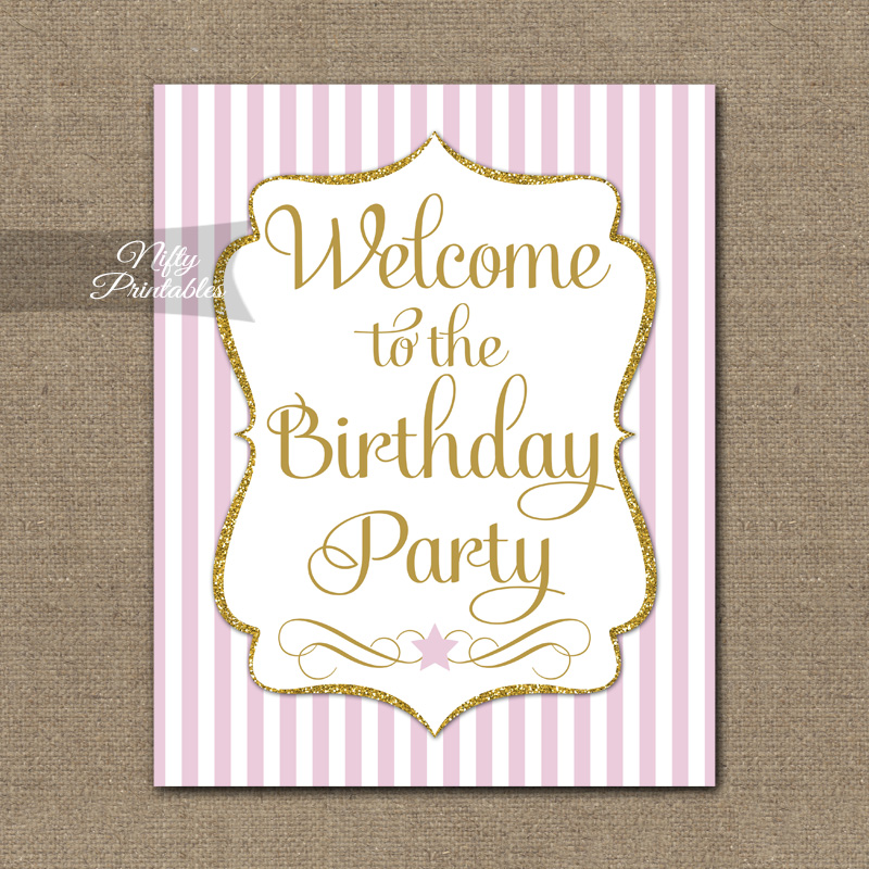 Happy Birthday Welcome Sign - Pink Gold Stripe