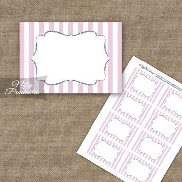 Pink Silver Stripe Blank Labels