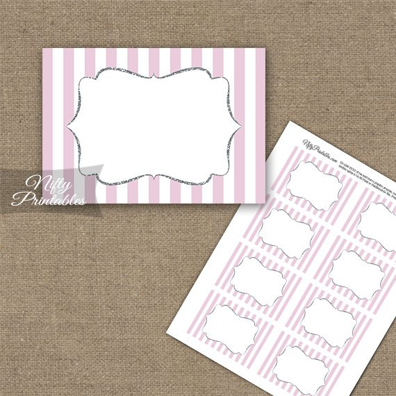 Pink Silver Stripe Blank Labels