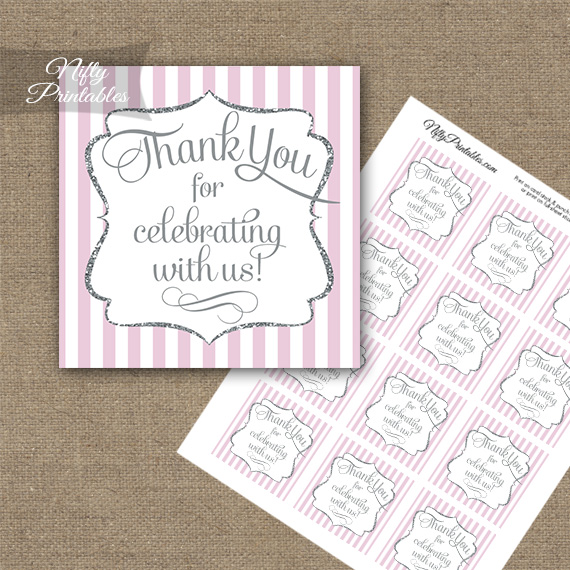 Pink White Silver Stripe Thank You Favor Tags