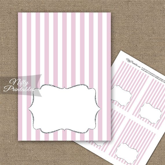 Pink Silver Stripe Folded Tent Place Cards