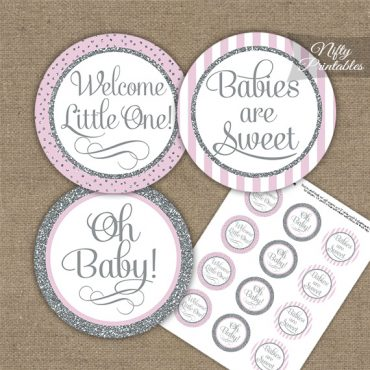 Baby Shower Cupcake Toppers - Pink Silver Stripe