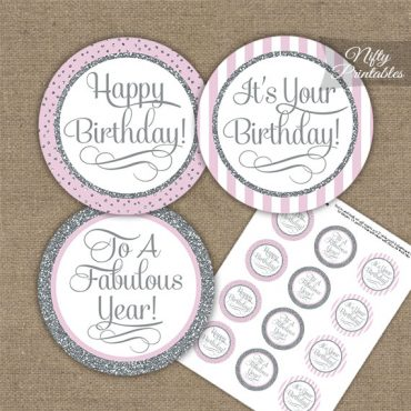 Happy Birthday Cupcake Toppers - Pink Silver Stripe