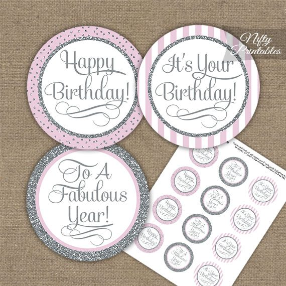 graphic about Happy Birthday Cake Topper Printable known as Satisfied Birthday Cupcake Toppers - Purple Silver Stripe