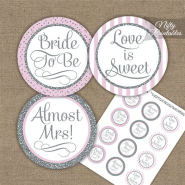 Bridal Shower Cupcake Toppers - Pink Silver Stripe