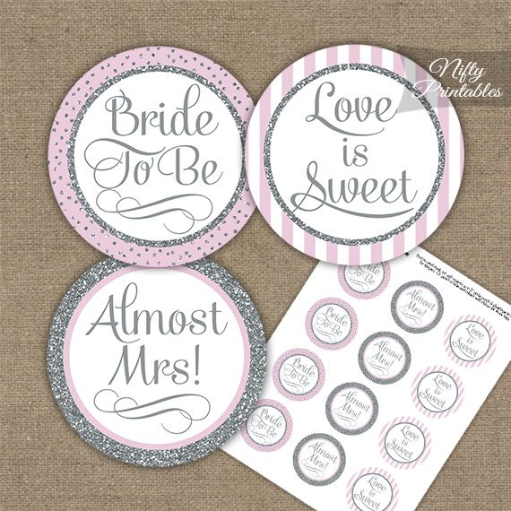 bridal shower cupcake toppers pink silver stripe
