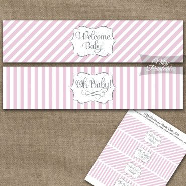 Baby Shower Water Bottle Labels - Pink Silver Stripe