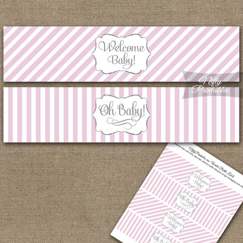 Baby Shower Water Bottle Labels - Pink Silver Stripe