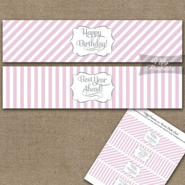 Happy Birthday Water Bottle Labels - Pink Silver Stripe