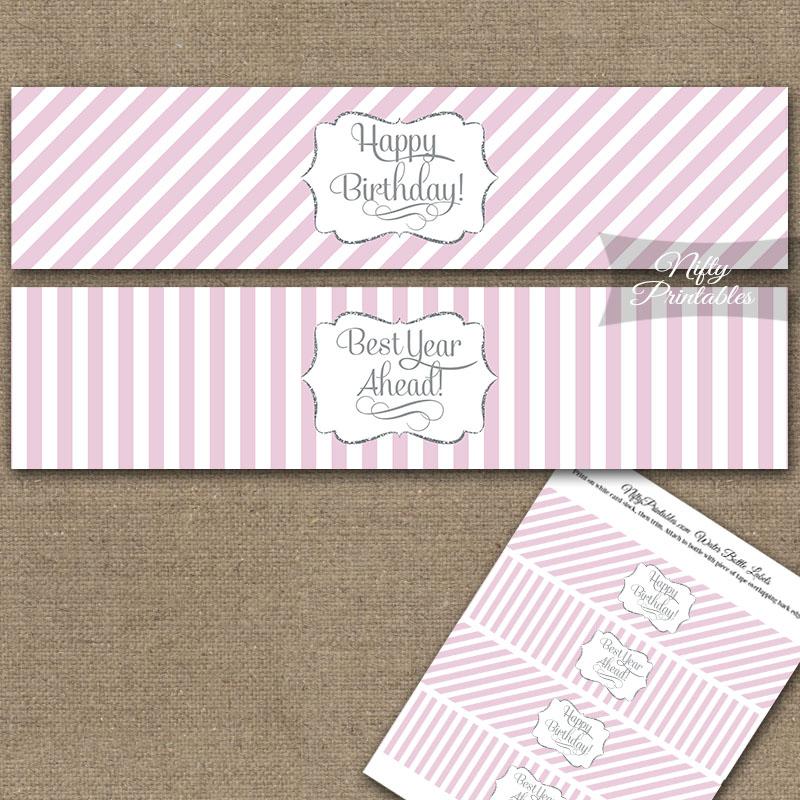 Happy Birthday Water Bottle Labels - Pink Silver Stripe