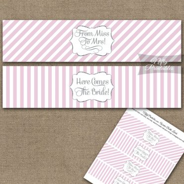 Bridal Shower Water Bottle Labels - Pink Silver Stripe