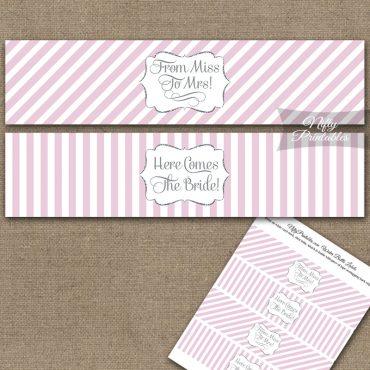 Bridal Shower Water Bottle Labels - Pink Silver Stripe