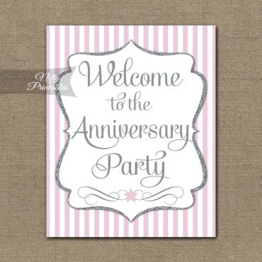 Anniversary Welcome Sign - Pink Silver Stripe