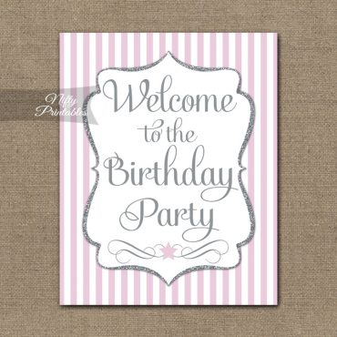 Happy Birthday Welcome Sign - Pink Silver Stripe
