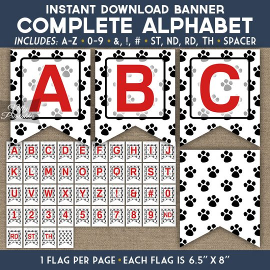 Alphabet Party Banner - Paw Prints
