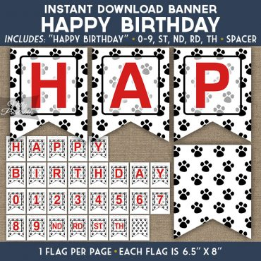 Happy Birthday Banner - Paw Prints