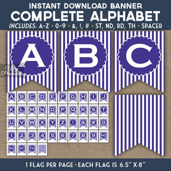 Alphabet Party Banner - Purple White Stripe
