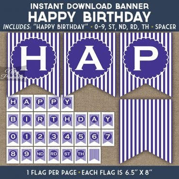 Happy Birthday Banner - Purple White Stripe
