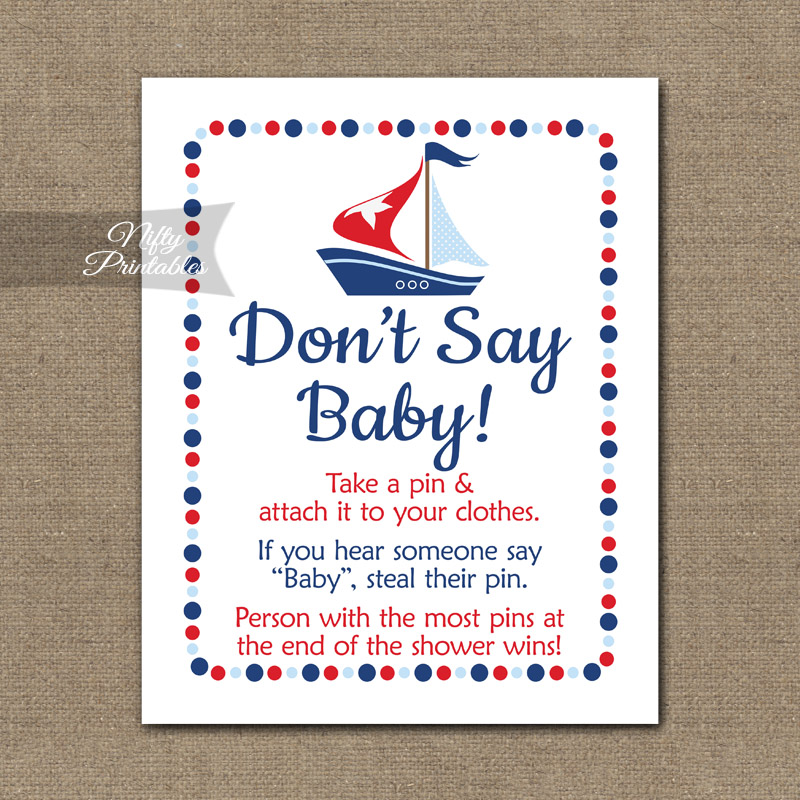 Don't Say Baby Shower Game - Sailboat Nautical