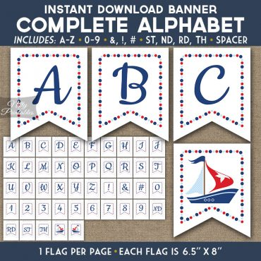 Alphabet Party Banner - Sailboat Nautical