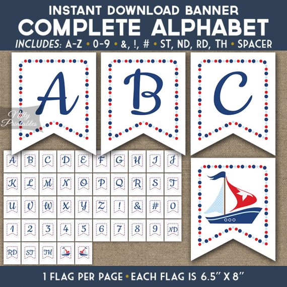 Alphabet Party Banner - Sailboat Nautical
