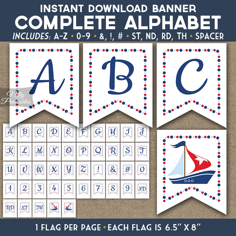 Alphabet Party Banner - Sailboat Nautical - Nifty Printables