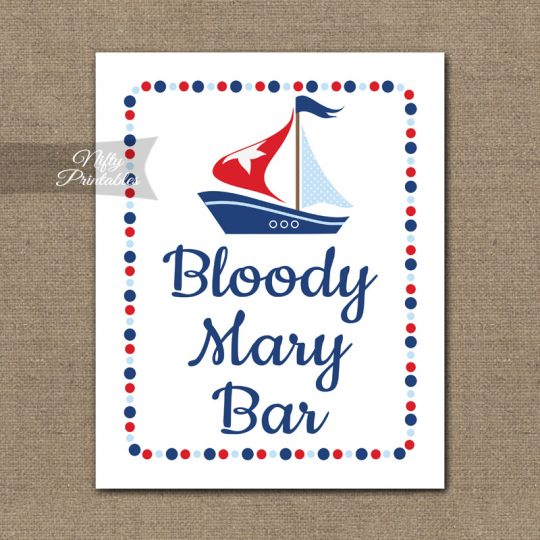 Bloody Mary Bar Sign - Sailboat Nautical