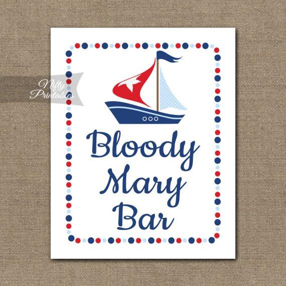 Bloody Mary Bar Sign - Sailboat Nautical
