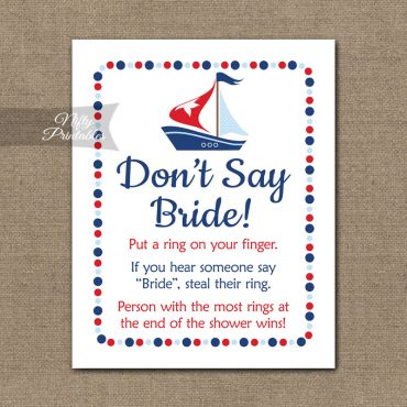 Don't Say Bride Shower Game - Sailboat Nautical