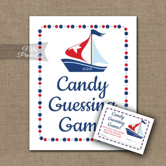Candy Guessing Game - Sailboat Nautical