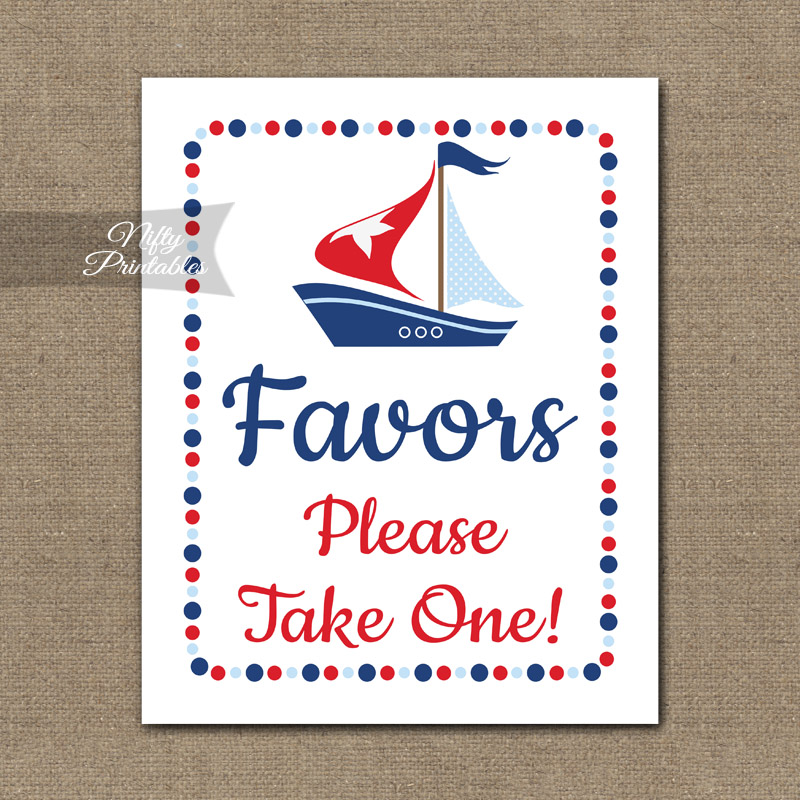 image relating to Please Take One Sign Printable identify Favors Indicator - Sailboat Nautical