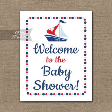 Baby Shower Welcome Sign - Sailboat Nautical